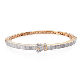 Diamond Buckle Bangle in Platinum and Gold Tone 7.5 Inch