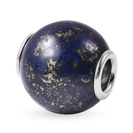 Charms De Memoire -  Lapis Lazuli Charm in Rhodium Overlay Sterling Silver 17.50 Ct.
