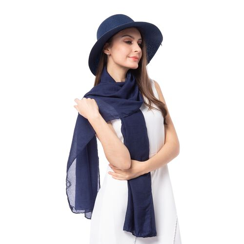 Navy Blue Solid Colour Scarf (Size 180x70 Cm) with Flower Pattern  Hat including Bowknot String (Size 34x14 Cm)