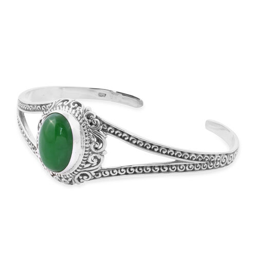 Royal Bali Collection - Green Jade Cuff Bangle (Size 7.5) in Sterling Silver 14.15 Ct, Silver wt 21.66 Gms