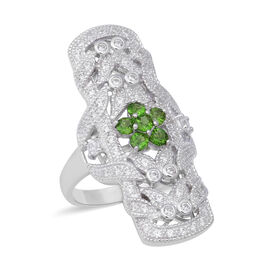 Designer Inspired - Russian Diopside (Rnd), Natural White Cambodian Zircon Ring in Rhodium Overlay S