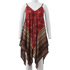 Rose Red and Multicolour V-Neck Slip Dress with Floral and Chevron Pattern