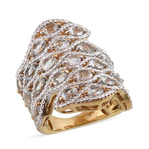 Espirito Santo Aquamarine (Ovl) Ring in 14K Gold Overlay Sterling Silver 4.000 Ct.