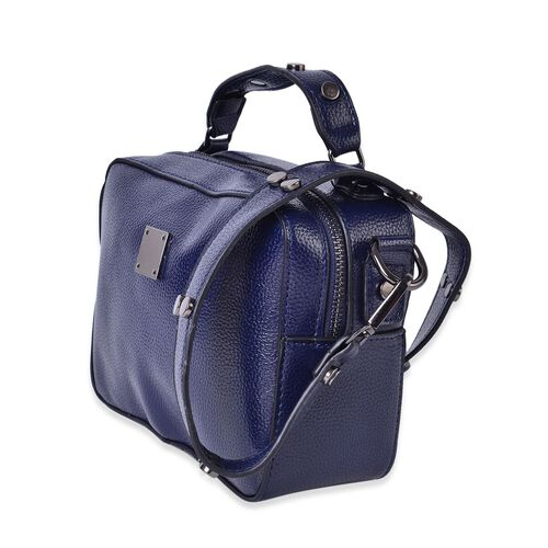 Navy Colour Crossbody Bag with External Zipper Pocket and Removable Shoulder Strap (Size 20X15X7.5 Cm)