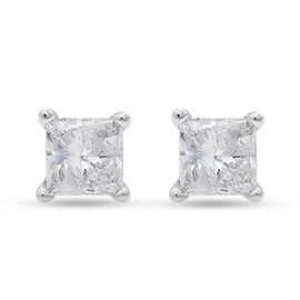 NY Close Out 14K White Gold Natural Diamond (I1-I2/G-H ) Stud Earrings (with Screw Back) 0.50 Ct.