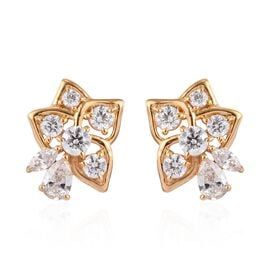 J Francis Made with SWAROVSKI ZIRCONIA Floral Stud Earrings in Gold plated Sterling Silver