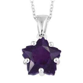 3.25 Ct Stellaris Cut Amethyst Pendant with Chain in Platinum Plated Sterling Silver