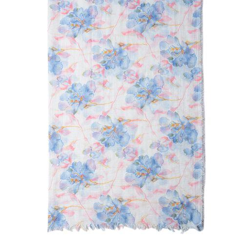 Blue Colour Big Flower Pattern Scarf with Pink Colour Leaf (Size 180x90 Cm)