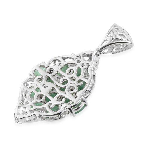 Kagem Zambian Emerald (Ovl), Natural Cambodian Zircon Pendant in Platinum Overlay Sterling Silver 3.750 Ct.