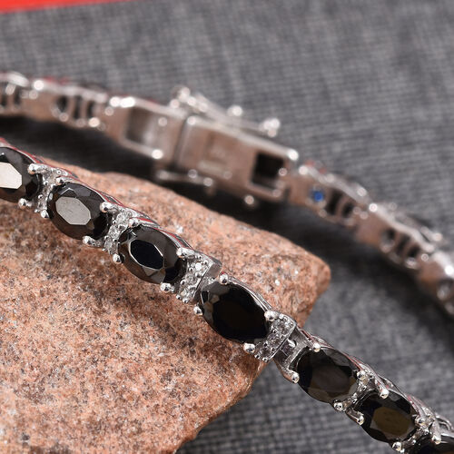 GP Elite Shungite (Ovl), Natural Cambodian Zircon and Blue Sapphire Bracelet (Size 8) in Platinum Overlay Sterling Silver 7.00 Ct, Silver wt 12.00 Gms