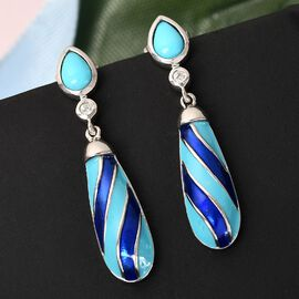 Arizona Sleeping Beauty Turquoise and Natural Cambodian Zircon Enamelled Earrings (with Push Back) in Platinum Overlay Sterling Silver