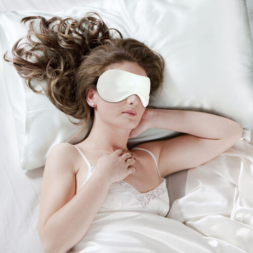 100% Mulberry Silk Hyaluronic Acid and Argan Oil Infused Ivory Pillowcase (Size 50x75cm) and Eye Mask with Adjustable Elastic Band (Size 23x10cm)