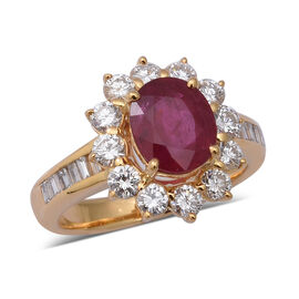 Signature Collection 2.85 Ct AAA Burmese Ruby and Diamond Halo Ring in 18K Yellow Gold SI I1 GH