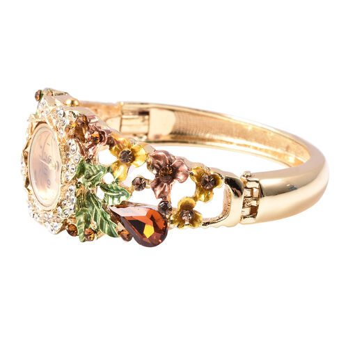 STRADA Japanese Movement Simulated Smoky Quartz and Multi Colour Austrian Crystal Floral Garden Theme Bracelet Watch in Gold Tone
