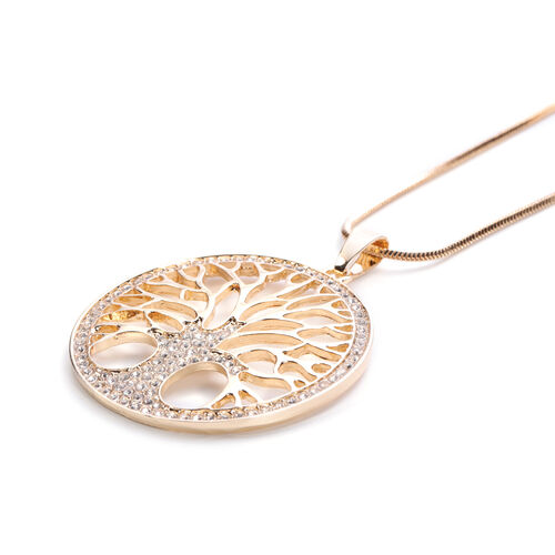 Monster Deal- White Austrian Crystal Tree-of-Life Pendant with Chain in Gold Tone
