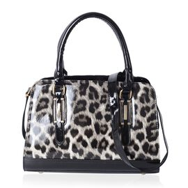 HONG KONG CLOSE OUT- Black and White Colour Leopard Pattern Handbag with Adjustable and Removable Sh