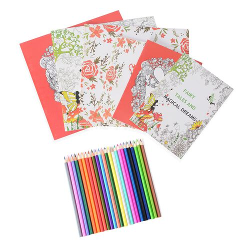 Set of 6 Colouring Books (Fairy Tales, Magical Dreams, Love Secret and Cafe) with 1 box Crayons including 24 Pcs Coloured Pencils