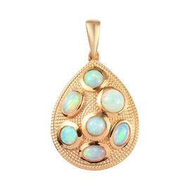 Ethiopian Welo Opal (Ovl and Rnd) Pendant in 14K Gold Overlay Sterling Silver 2.650 Ct, Silver wt 5.