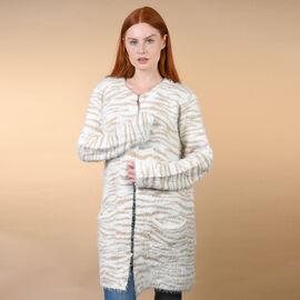 TAMSY Zebra Pattern V-Neck Jacket - White