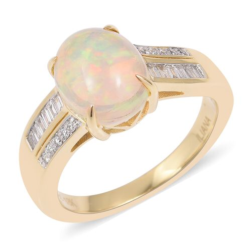 ILIANA 18K Yellow Gold Ethiopian Welo Opal (Ovl 1.750 Ct) Diamond Ring 1.880 Ct, Gold wt 5.63 Gms