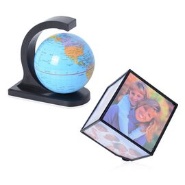 Rotating Photo Frame Cube and Magical Globe Set (Size 10.7x10.7x10.7 Cm) - Black
