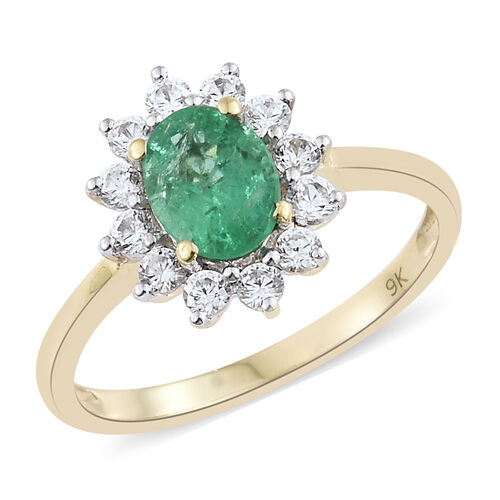 Limited Edition- 9K Yellow Gold Kagem Zambian Emerald, Natural Cambodian Zircon Halo Ring 1.50 Ct