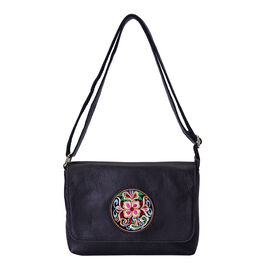 100% Genuine Leather Adjustable Crossbody Bag (25x18x7cm) with Embroidered Flower Pattern - Black