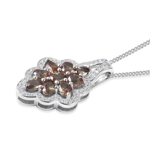 Brazilian Andalusite (Ovl), Natural White Cambodian Zircon Cluster Pendant With Chain (Size 18) in Rhodium Overlay Sterling Silver 2.39 Ct.