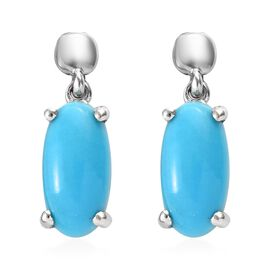 SLEEPING BEAUTY TURQUOISE (3.00 Ct) Platinum Overlay Sterling Silver Earring  4.250  Ct.