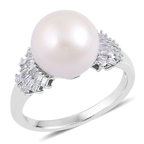 Limited Edition - South Sea White Pearl (Rnd 11-11.5mm), Diamond Ring in Platinum Overlay Sterling Silver