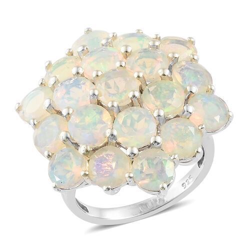 Ethiopian Welo Opal (Rnd 5mm) Ring in Platinum Overlay Sterling Silver 6.000 Ct,
