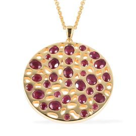 RACHEL GALLEY African Ruby (Ovl and Rnd) Lattice Pendant with Chain (Size 30) in 14K Gold Overlay St