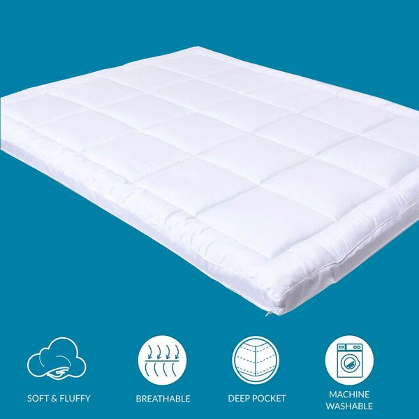 5 Zone 2 in 1 Hybrid Mattress Topper with Shungite Infused Memory Foam & Down Alternative Cover Size