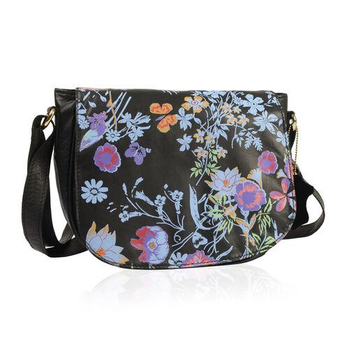 Genuine Leather RFID Blocker Black, Blue and Multi Colour Floral Pattern Sling Bag with Adjustable Shoulder Strap (Size 24X20X7 Cm)