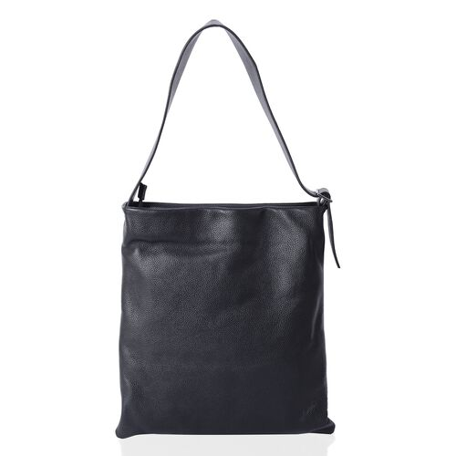 Sencillez Classic Black 100% Genuine Nappa Leather Tote Bag with Adjustable Shoulder Strap (Size 39x36 Cm)