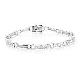 1 Carat Diamond Bar link Bracelet in 9K White Gold 5.9 Grams SGL Certified I2-I3 GH
