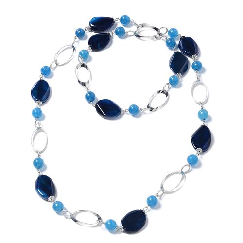 Designer Inspired - Blue Agate (Rnd) Oval Link Necklace (Size 38) in Silver Plated 330.000 Ct.