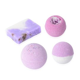 One Time Deal- Lavender Scent 3 Pink Bath Bombs and 1 Hand made Soap Flower with Gift Box (Size 16.1