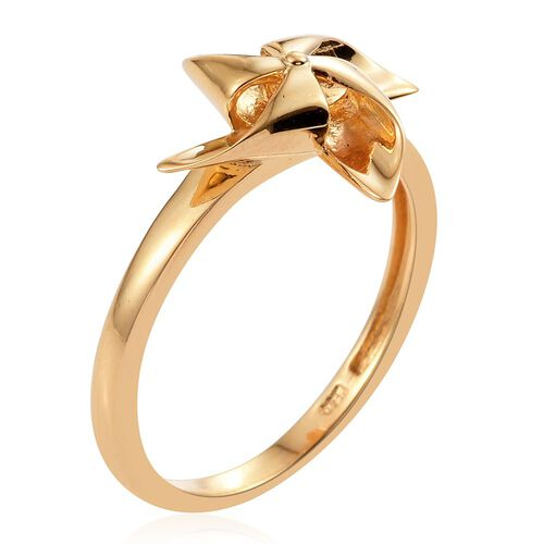 14K Gold Overlay Sterling Silver Wind Mill Ring, Silver wt. 2.50 Gms.