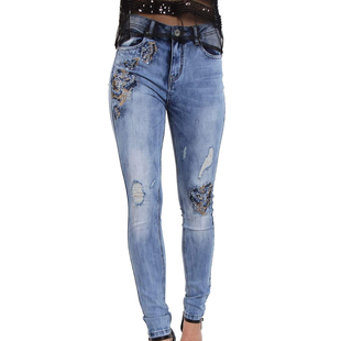 Floral Embroidered Skinny Fit High Waist Light Blue Jeans