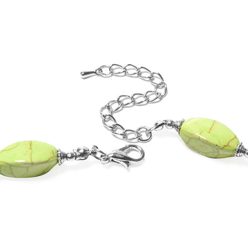 Green Howlite Necklace (Size 18 with 2.5 inch Extender) in Silver Tone 266.50 Ct.