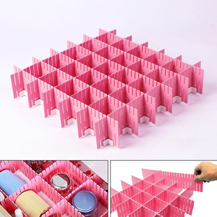 Set of 12 DIY Plastic Grid Drawer Dividers {Size 36.5X7cm (14.37X2.76 inch) } - Pink