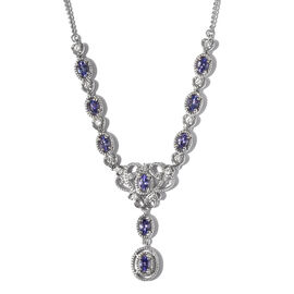 Monster Deal - Tanzanite and Natural Cambodian Zircon Necklace (Size 18) in Platinum Overlay Sterlin