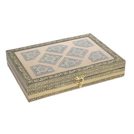 Golden Handcrafted Golden Embossed Aluminum Jewellery Box with Transparent Window (27.94x20.32x5.08