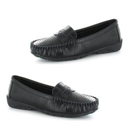 Ella Fay Perforated Detailing Loafers - Black