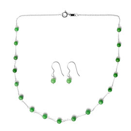 2 Piece Set - Green Jade Station Necklace (Size 18) and Hook Earrings in Sterling Silver 27.75 Ct.