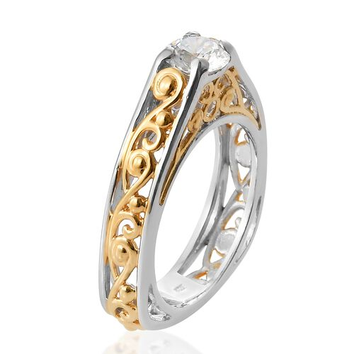 J Francis - Platinum and Yellow Gold Overlay Sterling Silver (Rnd) Ring Made with SWAROVSKI ZIRCONIA, Silver wt 5.43 Gms.