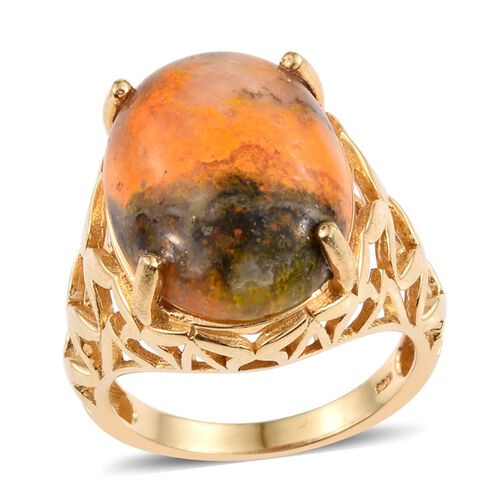 Bumble Bee Jasper (Ovl) Ring in 14K Gold Overlay Sterling Silver 13.000 Ct.
