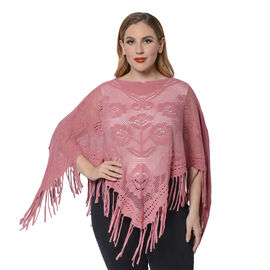 Spring Collection - Rose Pattern Hollow Out Poncho with Fringe Hem in Red (Free Size; Length 50Cm)