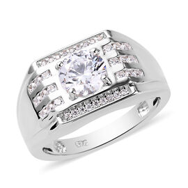 J Francis - Platinum Overlay Sterling Silver Signet Ring Made with SWAROVSKI ZIRCONIA 2.97 Ct.
